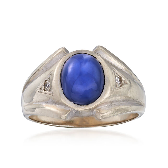 C. 1970 Vintage Men's Synthetic Sapphire Ring with Diamond Accents in 14kt White Gold. Size 10, , default
