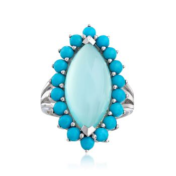 Turquoise and Aqua Blue Chalcedony Ring in Sterling Silver, , default