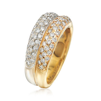 C. 1990 Vintage 1.20 ct. t.w. Double-Band Pave Diamond Ring in Two-Tone Gold. Size 6.5, , default