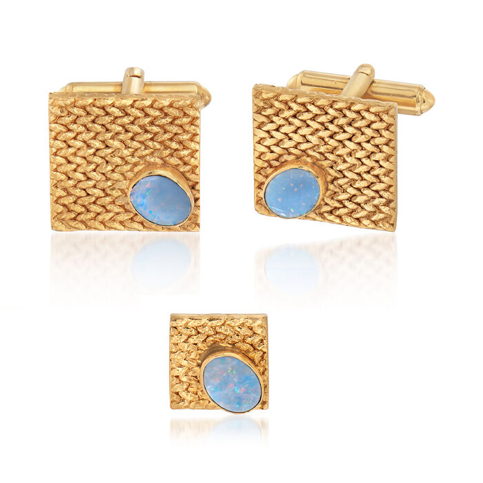 C. 1970 Vintage Men's Jewelry Set: Opal Cuff Links and Tie Tack in 14kt Yellow Gold