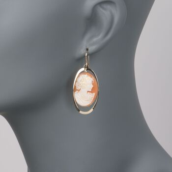 Shell Cameo and Open Oval Drop Earrings in 14kt Yellow Gold, , default