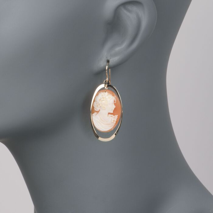 Shell Cameo and Open Oval Drop Earrings in 14kt Yellow Gold