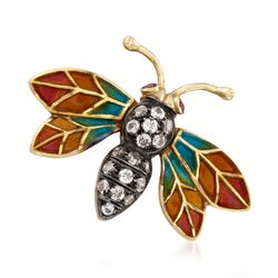 C. 1980 Vintage .45 ct. t.w. CZ Enamel Bug Pin in 14kt Yellow Gold With Synthetic Ruby Accents, , default