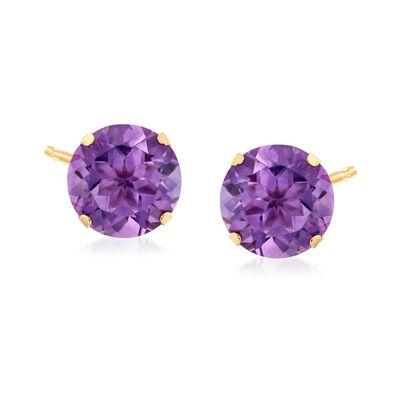 7.25 ct. t.w. Amethyst Stud Earrings in 14kt Yellow Gold, , default