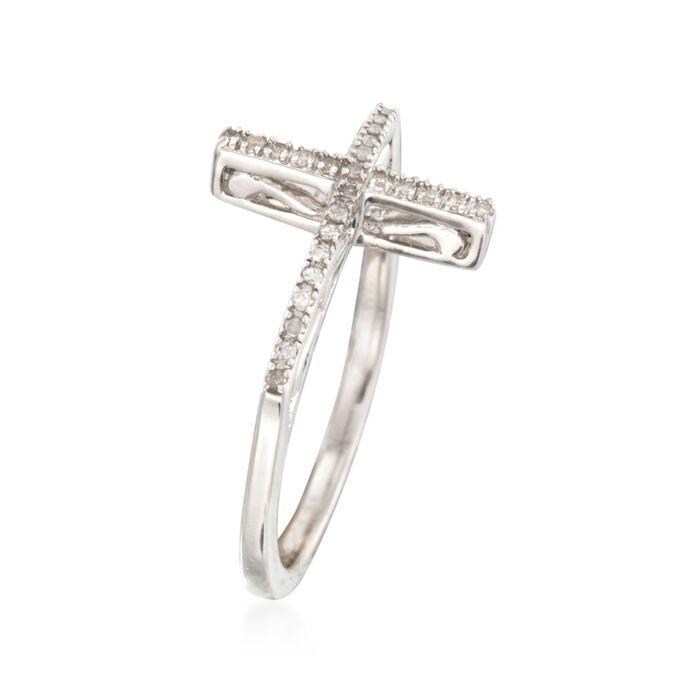 .10 ct. t.w. Diamond Sideways Cross Ring in Sterling Silver