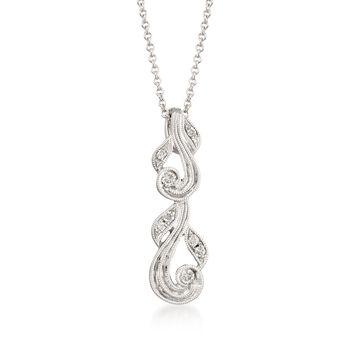 "Simon G. ""Vintage Explorer"" Diamond-Accented Swirl Pendant Necklace in 18kt White Gold. 17"", , default"