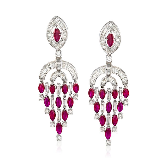 8.50 ct. t.w. Ruby and 6.00 ct. t.w. Diamond Chandelier Earrings in 18kt White Gold, , default