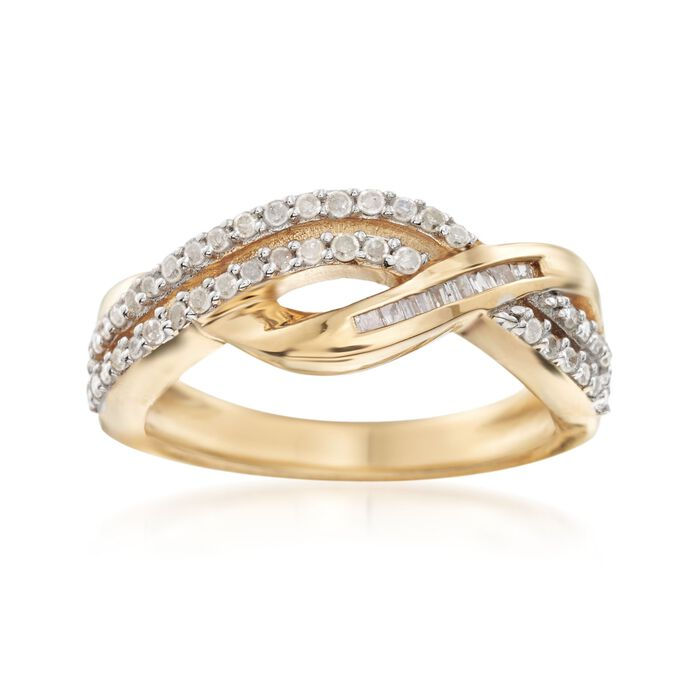 .48 ct. t.w. Baguette and Round Diamond Crisscross Ring in 14kt Gold Over Sterling. Size 9, , default