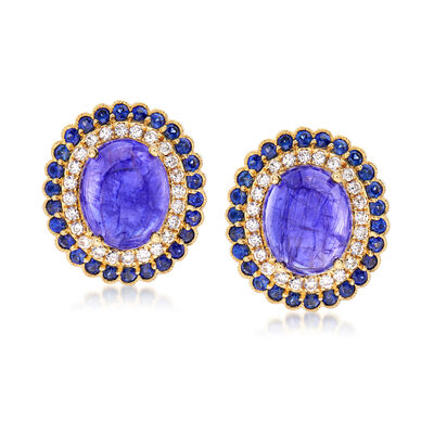 11.00 ct. t.w. Tanzanite, 1.40 ct. t.w. Sapphire and .53 ct. t.w. Diamond Earrings in 18kt Yellow Gold