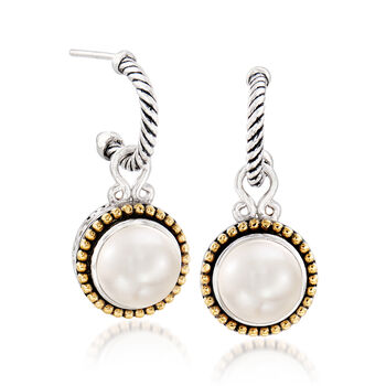 """10mm Cultured Pearl J-Hoop Drop Earrings in Sterling Silver and 18kt Yellow Gold. 1 1/8"""", , default"""