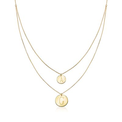 14kt Yellow Gold Two-Initial Layered Double Disc Necklace, , default