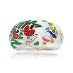 "Belle Etoile ""Ladybug"" White Enamel and .12 ct. t.w. CZ Ring in Sterling Silver, , default"