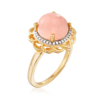 Pink Opal and .10 ct. t.w. Diamond Ring in 18kt Gold Over Sterling. Size 6, , default