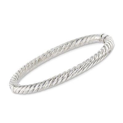 Sterling Silver Twisted Bangle Bracelet, , default