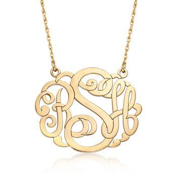 """14kt Yellow Gold Large Monogram Pendant Necklace. 18"""", , default"""