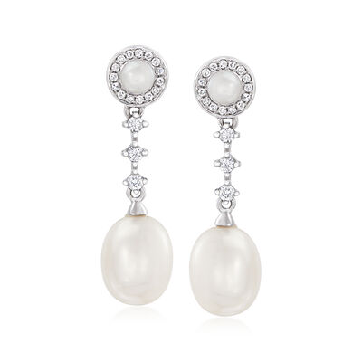 3-6.5mm Cultured Pearl and .15 ct. t.w. Diamond Drop Earrings in 14kt White Gold, , default