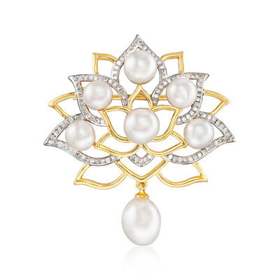 5.5-7.5mm Cultured Pearl and .33 ct. t.w. Diamond Lotus Flower Pin in 18kt Gold Over Sterling, , default
