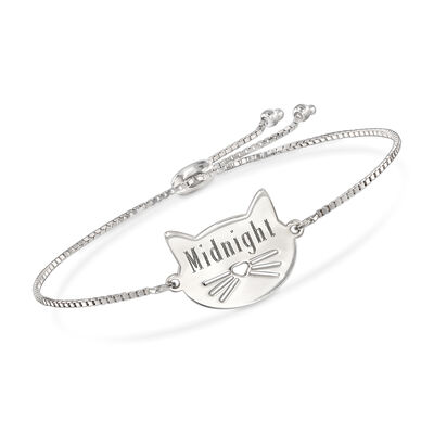 Sterling Silver Personalized Cat Bolo Bracelet, , default