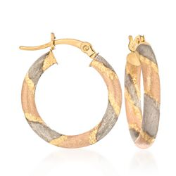 14kt Tri-Colored Gold Multi-Finish Striped Hoop Earrings, , default
