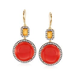 Carnelian and 3.80 ct. t.w. Multi-Stone Drop Earrings in 18kt Yellow Gold Over Sterling, , default
