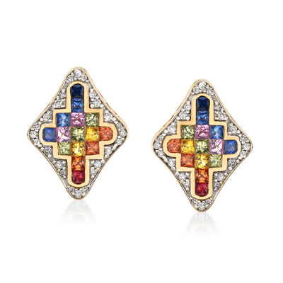 1.70 ct. t.w. Multicolored Sapphire and .31 ct. t.w. Diamond Stud Earrings in 14kt Yellow Gold, , default