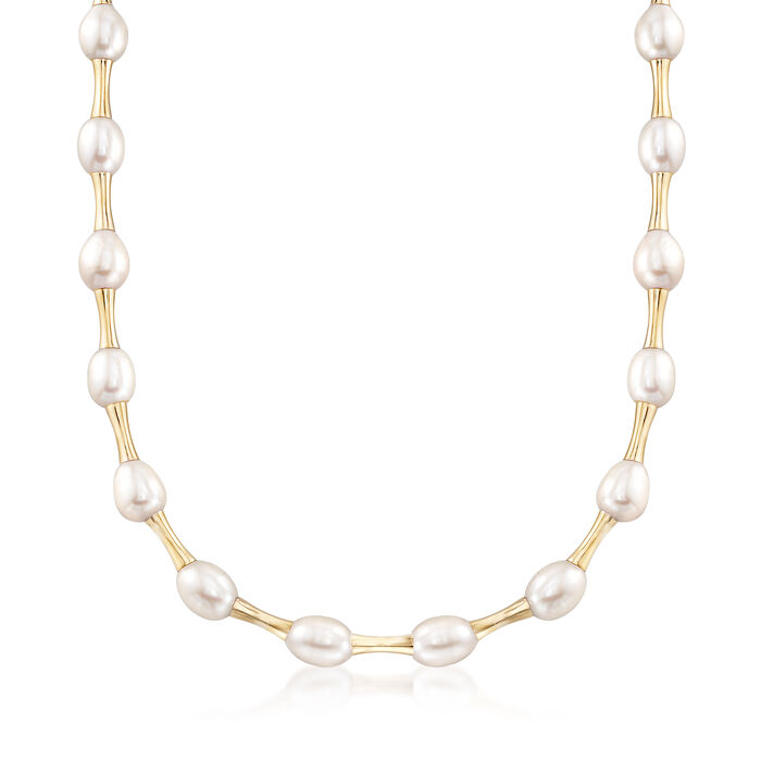 "9-9.5mm Cultured Pearl Bamboo-Style Necklace in 14kt Yellow Gold. 20"", , default"