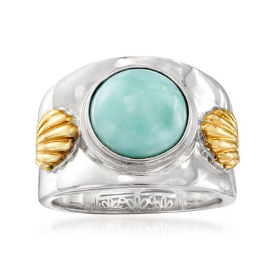 Larimar Wide Ring in Sterling Silver and 14kt Gold
