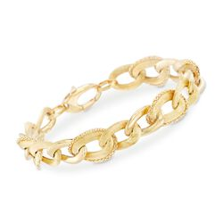 "14kt Yellow Gold Chain-Wrapped Link Bracelet. 7.5"", , default"