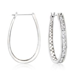 "2.20 ct. t.w. Channel-Set Diamond Oval Hoop Earrings in 14kt White Gold. 1 1/4"", , default"