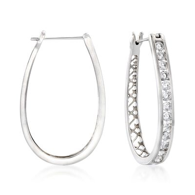 2.00 ct. t.w. Channel-Set Diamond Oval Hoop Earrings in 14kt White Gold, , default