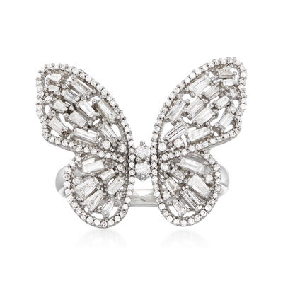 1.00 ct. t.w. Diamond Butterfly Ring in 14kt White Gold, , default