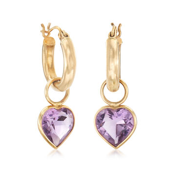 "C. 1980 Vintage 5.60 ct. t.w. Amethyst Removable Heart Hoop Earrings in 14kt Yellow Gold. 1 1/8"", , default"