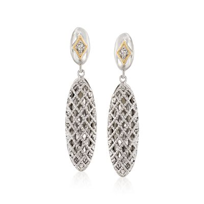 "Andrea Candela ""Rioja"" Sterling Silver and 18kt Yellow Gold Oval Drop Earrings with Diamonds Accents"