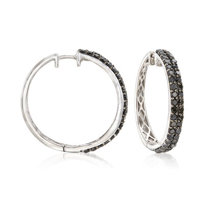2.00 ct. t.w. Black Diamond Two-Row Hoop Earrings in Sterling Silver, , default