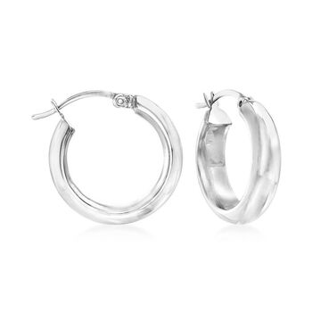 "Tri-Colored Sterling Silver Jewelry Set: Three Pairs of Puffed Hoop Earrings. 3/4"", , default"