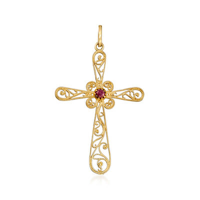 Italian .60 Carat Garnet Filigree Cross Pendant in 14kt Yellow Gold, , default