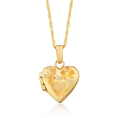 Child's 14kt Yellow Gold Heart Locket Necklace, , default