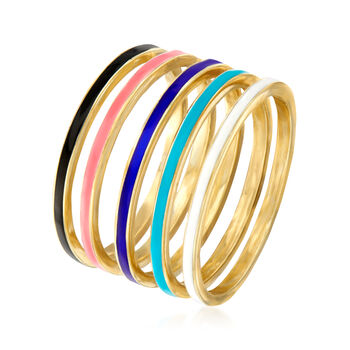 Multicolored Enamel Jewelry Set: Five Rings in 18kt Gold Over Sterling
