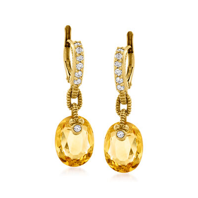 C. 1990 Vintage 6.00 ct. t.w. Citrine and .35 ct. t.w. Diamond Drop Earrings in 18kt Yellow Gold
