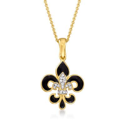 Black Enamel Fleur-De-Lis Pendant Necklace with White Topaz Accents in 18kt Gold Over Sterling