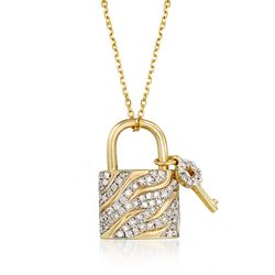 ".43 ct. t.w. Pave Diamond Padlock and Key Necklace in 14kt Yellow Gold. 18"", , default"