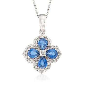 """1.60 ct. t.w. Sapphire and .20 ct. t.w. Diamond Flower Pendant Necklace in 14kt White Gold 16"""", , default"""
