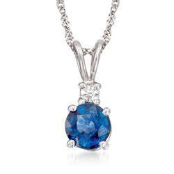 .70 Carat Sapphire Pendant Necklace With Diamond Accent in 14kt White Gold, , default