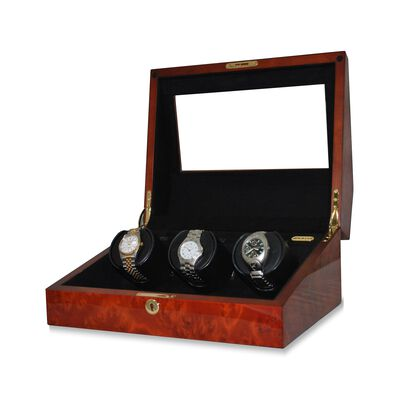 """Siena"" Burl Finish Triple Watch Winder with Cover by Orbita, , default"