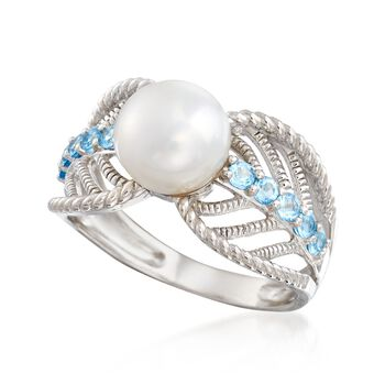 8-8.5mm Cultured Pearl and .40 ct. t.w. Blue Topaz Ring in Sterling Silver , , default
