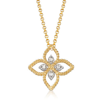 "Roberto Coin ""Princess"" 18kt Two-Tone Gold Flower Pendant Necklace with Diamond Accents"