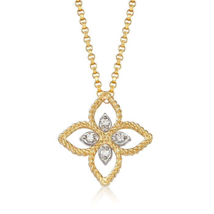 """Roberto Coin """"Princess"""" 18kt Two-Tone Gold Flower Pendant Necklace with Diamond Accents"""