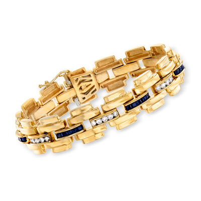 C. 1980 Vintage 1.75 ct. t.w. Sapphire and 1.40 ct. t.w. Diamond Link Bracelet in 14kt Yellow Gold