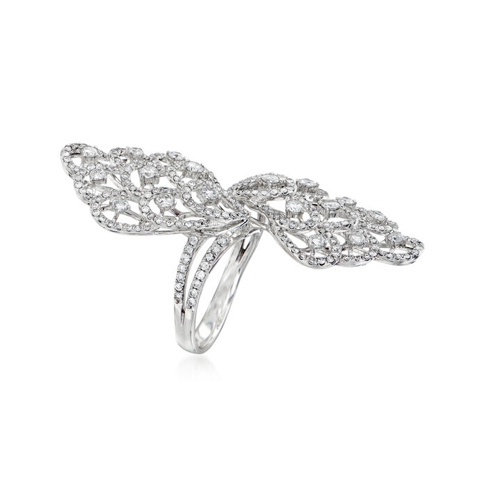 C. 1990 Vintage 2.09 ct. t.w. Diamond Elongated Cocktail Ring in 18kt White Gold