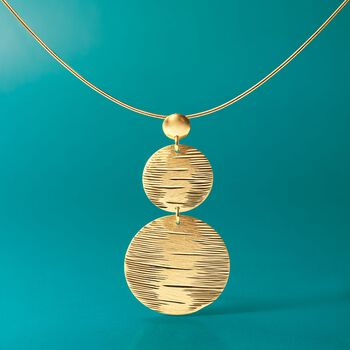 Italian 24kt Gold Over Sterling Silver Disc Drop Necklace, , default